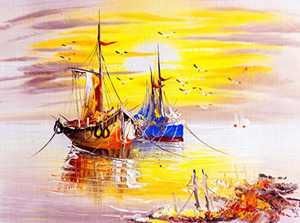 Pantula Sea Sunset Diamond Painting - Round Full Diamond Painting Boat Sea Sunset by Numbered Kit for Wall Decor Gift (15.7×11.8inch)