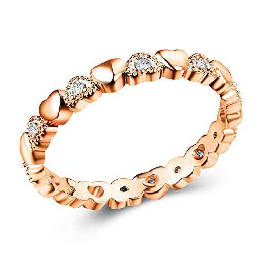 Odetina Rings For Teen Girls, Cute New Peach Heart Micro Set Zircon Women'S Love Golden Ring Sets Exquisite Copper Silver Plated Jewelry (golden9)