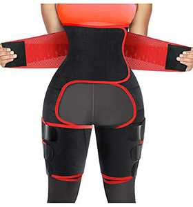RACELO 3 in 1 Sauna Waist Trainer Butt Lifter Thigh Trimmer Sweat Body Shaper Exercise Wrap Stomach for Women Workout Sports (Red, XL)