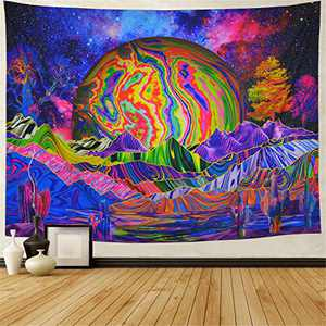 Trippy Planet Tapestry Psychedelic Mountain Wall Tapestry Galaxy Space Tapestry Colorful Trees Cactus Tapestries Wall Hanging for Bedroom Dorm