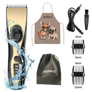 JOYPAWS Washable Dog Clippers, Waterproof Pet Clippers - Low Noise Hair Clippers Set with 2h Work Time, Dog Trimmer Cordless Pet Grooming Tool Dog Hair Trimmer for Dogs Cats Pets (Gold and Black)