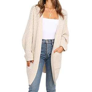 Byinns Women's Sweater Cardigans with Pockets Solid Color Casual Loose Open Front Knitwear Coat Outwear Apricot