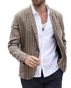 Makkrom Men's Linen Suit Jackets Striped Notch Lapel Lightweight Casual Blazer Sport Coats Brown
