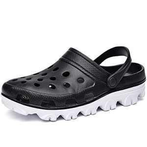 MAFEKE Unisex Garden Clogs Sandals Slippers Slip on Lightweight Casual Shoes(Blackwhite US Women 10.5 B(M) Men 9.5 D(M)
