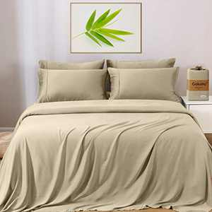 """GOKOTTA Bamboo Sheets California King -Bamboo Cooling Bed Sheets 4 Pieces, 16"""" Deep Pockets Bed Sheets, Breathable & Hypoallergenic Ultra Soft Sweet-Dream Series Beige"""