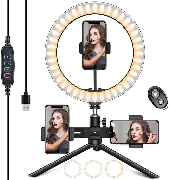 """HAPAW 10"""" LED Ring Light with Tripod Stand and 3 Phone Holder, Dimmable 3 Colors 10 Brightness Selfie Desk Makeup Light with 3 Phone Clips USB Live Streaming Circle Light for YouTube Video Selfie"""