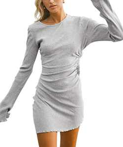 Yissang Women's Long Sleeve Fitted Ruched Side Drawstring Bodycon Mini Dress Gray Medium
