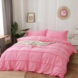 Boho Pom Pom 3pcs Duvet Cover + Pillow Shams Bedding Set, Queen/King, Off White/Blush Pink, Microfiber, Ultra Soft, Machine Washable, Modern Farmhouse, Cozy, Cute, Elegant Fringes (Peach Pink, Queen)