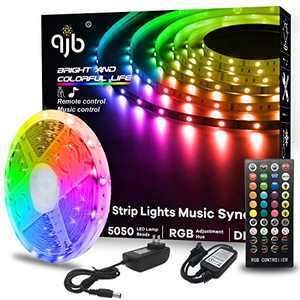QJB LED Strip Lights,RGB Music Sync Color Changing Led Lights for Computer Desk,TV Back Light(16.4FT)