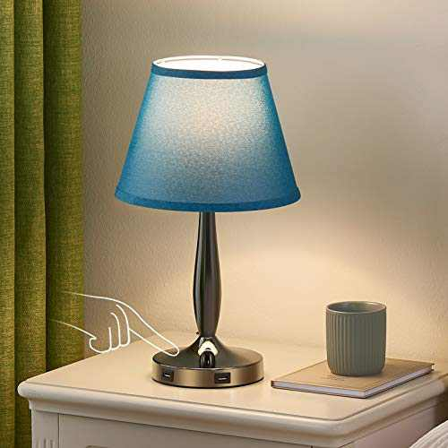 Touch Table Lamp with USB Ports for Bedroom, Kakanuo Turquoise Blue Touch Bedside Lamp with 2 USB Charging Ports, 3 Way Dimmable Nightstand Lamp for Living Room and Office (LED Bulb Included)