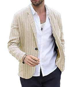 Makkrom Men's Linen Suit Jackets Striped Notch Lapel Lightweight Casual Blazer Sport Coats Beige