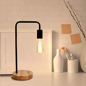 Industrial Nightstand Lamps, Desk Lamp Fully Stepless Dimmable Table Lamp with Wooden Base Vintage Bedside Lamp for Living Room, Office, Bedroom(Without Bulb)