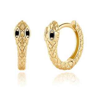 Snake Huggie Hoop Earrings, S925 Sterling Silver Post Small Snake Hoop Earrings, 14K Gold Plated Dainty Minimalist Snake Huggie Hoops Gold Huggy Hoop Earrings for Women Jewelry