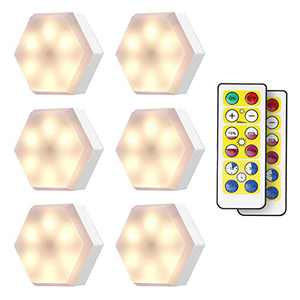 KINGSO Wireless LED Puck Lights with Remote Control 6 Pack, LED Stick On Lights Battery Operated, Dimmable Closet Lights Under Cabinet Lighting (4000K White)