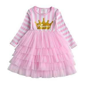 VIKITA Winter Toddler Girl Dress Long Sleeve Casual Party Tutu Dresses for Kids LH4882 6T