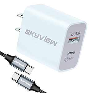 Skyview-18W-iPhone-Charger Compatible with USB-C-Magsafe-Power-Adapter Type-C-Charger-Wall-Fast-Charger fit to iPhone-12-iPad-Samsung-S21-LG-Andriod-Galaxy-Phone-PS5-Controller Type-C-Cable-Bundle