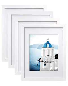 VSADEY 11x14 Picture Frames Set of 4, Wooden Photo Frames Wall Mounted for Displaying Pictures 8x10 with Mat and 11x14 without Mat Horizontally or Vertically Display Photo Frame, White