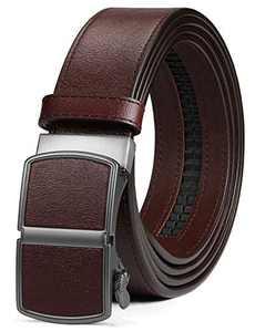 "ITIEZY Leather Ratchet Dress Belt with Automatic Click Buckle 1 3/8"" Sliding Belt for Men, Adjustable Trim to Fit"