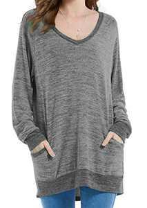 Womens Soft Long Sleeve V Neck T-Shirts Lounge Blouses Sweatshirts Cozy Tunic Tops with Pocket Dark Gray S