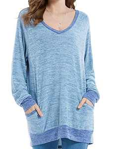 Womens Soft Long Sleeve V Neck T-Shirts Lounge Blouses Sweatshirts Cozy Tunic Tops with Pocket Blue S