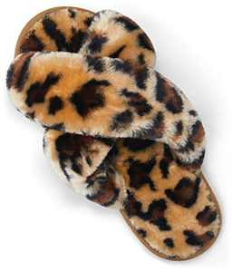 VEPOSE Women's Leopard Cross Band Slippers Soft Plush Furry Open Toe Fur Slides Fuzzy Fluffy Slip on House Shoe Indoor Outdoor Slipper for Women Size 11 and Size 11.5 and Size 12(CJY801 leopard 11&12)