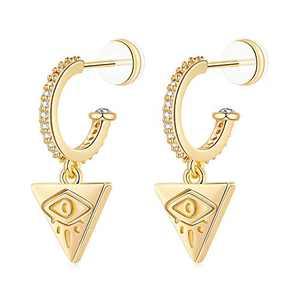 Evil Eye Hoop Earrings for Women, S925 Sterling Silver Post Triangle Dangle Earrings, 14K Gold Plated Cubic Zirconia Hoop Earrings Hypoallergenic Dangling Evil Eye Earrings for Women Girls