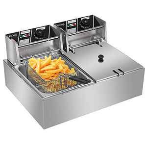 EH82 5000W MAX 110V 12.7QT/12L Stainless Steel Double Cylinder Electric Fryer US Plug