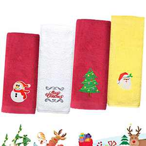 newoer Christmas Towel Oversized Print Kitchen Towels Pure Cotton Super Absorbent Bar Towels Cleaning Towels for Christmas Fireside Family Dinners.Pack of 4 Dish Towels-1324 Inches (Set of 4)