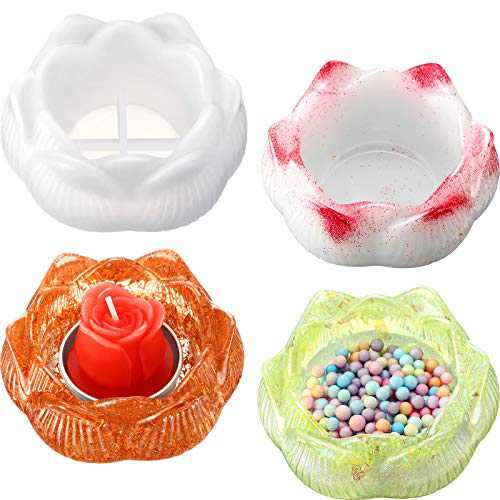 Epoxy Resin Molds 4 Pieces Lotus Tray Mold DIY Resin Molds Lotus Flower Epoxy Resin Casting Molds Lotus Flower Candlestick Epoxy Lotus Shape Candle Holders Jewelry Storage Box for Ring Necklace