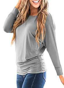 LEIYEE Womens Grey Batwing Long Sleeve T Shirts Casual Side Shirring Draped Dolman Tops