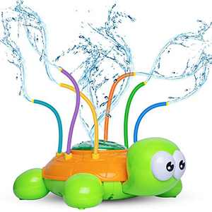 Kids Sprinklers for Yard, Sprinkler Toy for Babies and Toddlers Outdoor Water Toys - Lifetime Replacement Guarantee - Backyard Sprinkler Toy with Wiggle Tubes, Attaches to Garden Hose (Turtle)