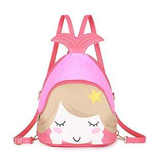 KL928 Cute Mini Backpack Toddler Animal Casual Daypack PU Leather Preschool Convertible Shoulder Bag Gift for Kids Boys Girls (Mermaid Coral)