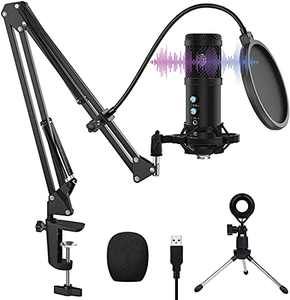 USB Microphone, VANBAR Condenser Microphone Kit with Boom Arm, Shock Mount, Pop Filter for Podcast, Game, YouTube Video, Stream, Recording Music, Voice-Over
