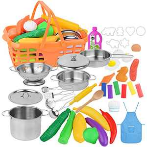 LadyRosian 42 Pcs Play Kitchen Accessories, Learning & Education Kids Cooking Toys with Stainless Steel Pots & Pans, Cooking Utensils, Apron, Chef Hat, Vegetable Fruit