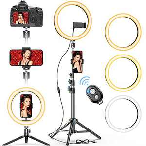 """10"""" Selfie Ring Light with 2 Tripod Stand & 2 Phone Holders, GPEESTRAC Beauty Circle Led Ringlight for Makeup Photography Live Steaming Camera Vlog YouTube Video, Compatible with iPhone & Android"""