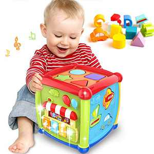 Early Learning Educational Music and Colorful Shape Sorter Toys Baby Toys 12-18 Month Activity Cube Toys for 1 Years Old Baby Toys 6 12 Month Gift for 1 2 3 Years Old Boys and Girls Kids and Toddler