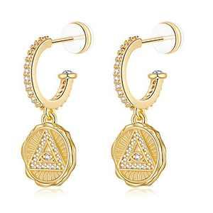 Evil Eye Hoop Earrings for Women, S925 Sterling Silver Post Round Coin Dangle Earrings, 14K Gold Plated Cute CZ Charms Evil Eye Drop Hoops Earrings for Women Girls