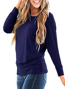 LEIYEE Womens Navy Blue Batwing Long Sleeve T Shirts Casual Side Shirring Draped Dolman Tops