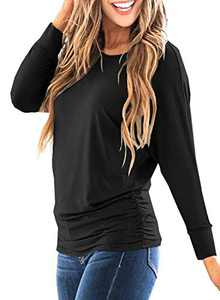 LEIYEE Womens Black Batwing Long Sleeve T Shirts Casual Side Shirring Draped Dolman Tops