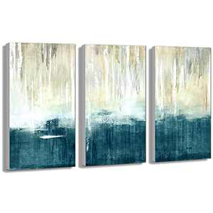 Abstract Rustic Blue Sea Wall Painting Blue Artwork Modern Picture Art Hand Painted on Canvas for Living Room Bedroom 3Panels-12x16x1.25 inches