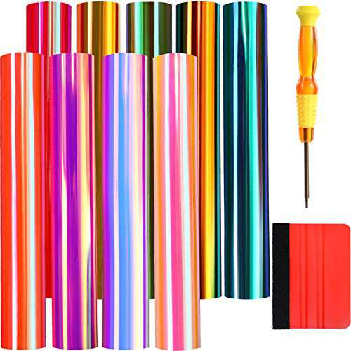 Christmas Holographic Vinyl, Holographic Opal Craft Vinyl Permanent Adhesive Backed Vinyl with Transfer Screwdriver and Transfer Scraper for Craft Cutters 12 x 12 Inches, 11 Pack