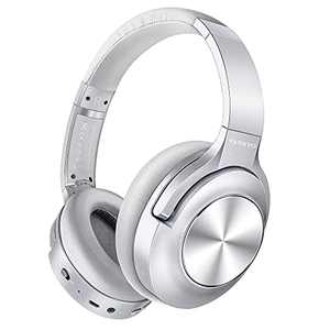 Active Noise Cancelling Headphones VANKYO C750 Wireless Bluetooth Headphones Over Ear Headset with CVC 8.0 Mic Hi-Fi Sound Deep Bass, 30H Playtime, Protein Earpad for Travel, Work, Online Class-Silver