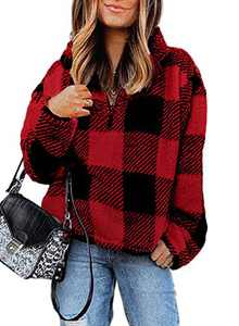 Chase Secret Women's Long Sleeve Lapel Fleece Sweatshirt Warm Plaid Fluffy Hoodies Pullover Red Medium