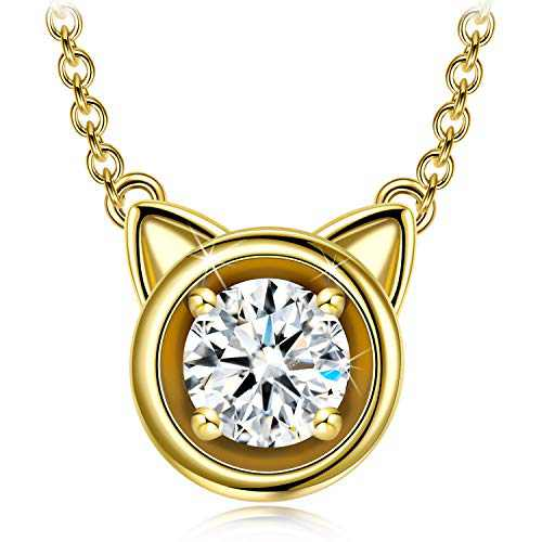 Mother's Day 925 Sterling Silver Necklace Sparkly Zirconia Solitaire Pendant Necklace Christmas Jewelry Gift for Women Girls, 5MM