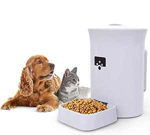 MOXNICE Smart Pet Feeder with 8L Large Volume, Load About 4.0KG of Feed, HD Video Call and Voice Recording, Support Wi-Fi Enabled App for Android and iOS, Fixed Position (Camera Version)