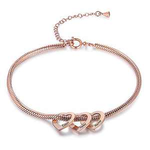 Kalulu Personalized Anklets for Women Custom Name Anklet with 2 Hearts Women's Anklets Engraving Stainless Steel Anklet Bracelet Charm Anklet for Teen Girls Anklet Length Adjustable for Mother Wife
