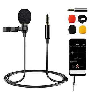 Professional Lavalier Microphone Omnidirectional Condense Lapel Microphone with 3.5mm Jack, Noise Canceling Mic Perfect for Phone, Camera, Audio Video, Recording YouTube,Interview (6.6ft)