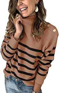 Boncasa 2020 Winter Women's Long Sleeves Knit Sweater Turtleneck Striped Print Casual Knitted Pullover Tops Coffee 2BC67-kafei-M