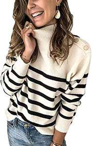 Boncasa 2020 Winter Women's Long Sleeves Knit Sweater Turtleneck Striped Print Loose Pullover Tops Deco with Metal Button Beige 2BC67-mibai-XL