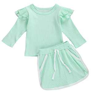 Toddler Baby Girls Ribbed Knit Cotton Skirt Set Long Sleeve Ruffle T-Shirt Top and Pocket Skirt Outfit (0-1 Year, Green)